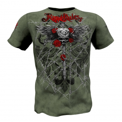 "T-shirt  ""Wired Roses"" Rigid Rules-green # Armwrestling Shop # Armpower.net"