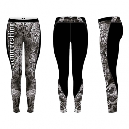 Unisex ARMFIGHT LEGGINS - black / white # Armwrestling Shop # Armpower.net