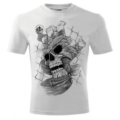SKULL HAND ARMFIGHT T-Shirt - white # Armwrestling Shop # Armpower.net
