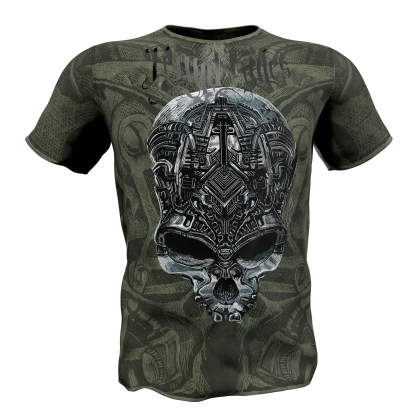 "T-shirt ""MECHANICAL SKULL""-green # Armwrestling Shop # Armpower.net"