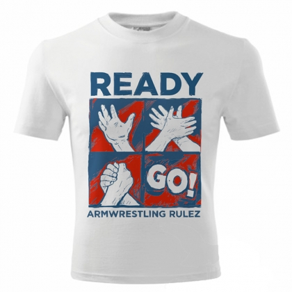Unisex READY GO T-shirt - white # Armwrestling Shop # Armpower.net