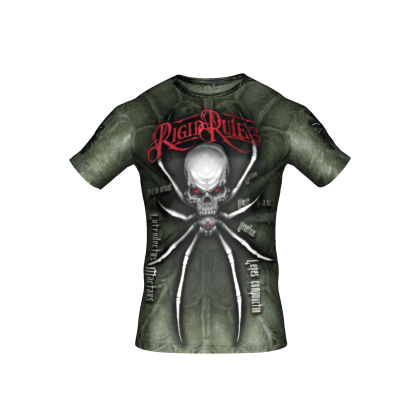 "T-shirt ""SPIDER"" Rigid Rules green # Armwrestling Shop # Armpower.net"