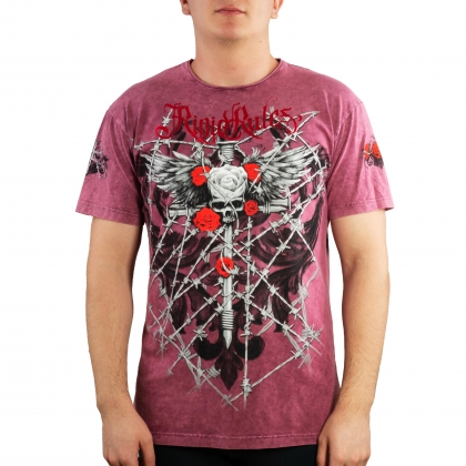 "T-shirt  ""Wired Roses"" Rigid Rules-pink # Armwrestling Shop # Armpower.net"