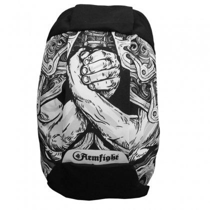 ARMFIGHT sports backpack - black / white # Armwrestling Shop # Armpower.net