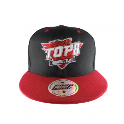 BASEBALL CAP TOP 8 - black / red. # Armwrestling Shop # Armpower.net