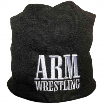 WINTER CAP -ARM black/white # Armwrestling Shop # Armpower.net
