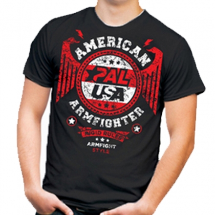 Unisex AMERICAN ARMFIGHTER shirt – black # Armwrestling Shop # Armpower.net
