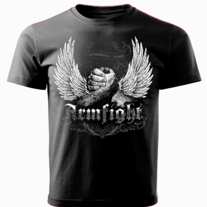 T-shirt ARMFIGHT WINGS black # Armwrestling Shop # Armpower.net