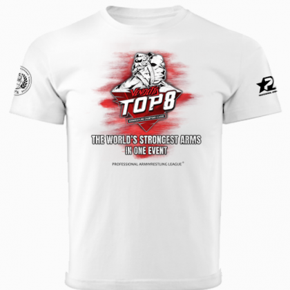 TOP 8 T-shirt - white. # Armwrestling Shop # Armpower.net