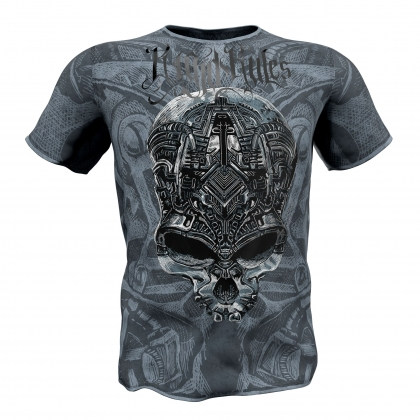 "T-shirt ""MECHANICAL SKULL""-blue # Armwrestling Shop # Armpower.net"